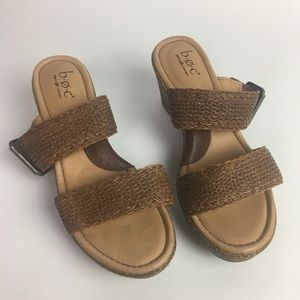 boc Shoes - B.O.C. Double Strap Wedge Sandals Brown Size 8